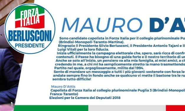Mauro D'Attis: ringrazia Berlusconi, Tajani e Vitali