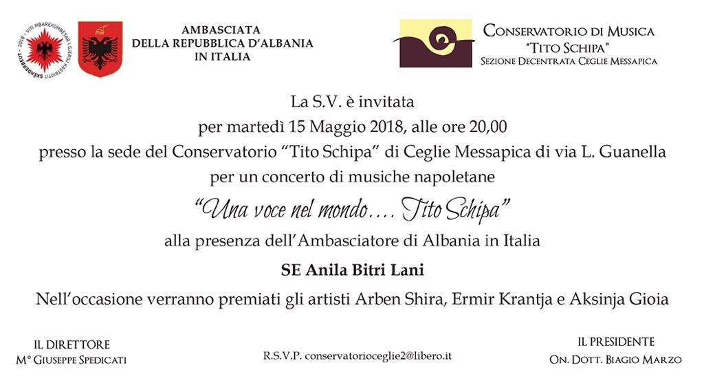 """Martedì a Ceglie concerto """"UNA VOCE NEL MONDO… TITO SCHIPA"""" alla presenza dell'Ambasciatore di Albania in Italia"""