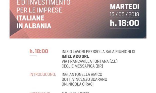 L'Ambasciatrice di Albania in Italia domani incontra le imprese locali a Ceglie Messapica