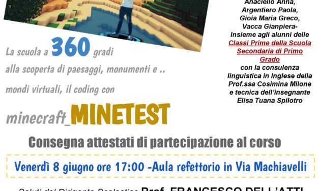 """""""Scuola a 360 gradi"""", venerdì 8 si presentano i risultati del progetto realizzato dal Primo Istituto Comprensivo"""