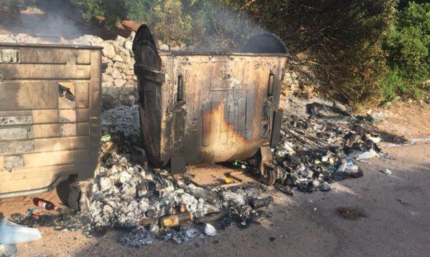 Nella notte a fuoco bidoni dei rifiuti