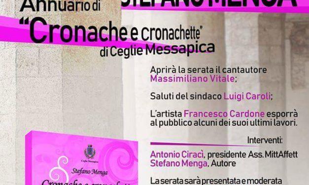 """""""CRONACHE E CRONACHETTE"""" DI CEGLIE MESSAPICA, STEFANO MENGA PRESENTA LA SUA OPERA"""