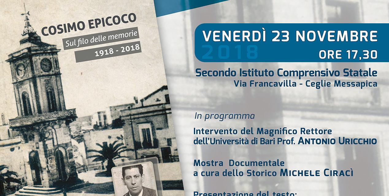 Ceglie Messapica ricorda il maestro Cosimo Epicoco a cent'anni dalla nascita