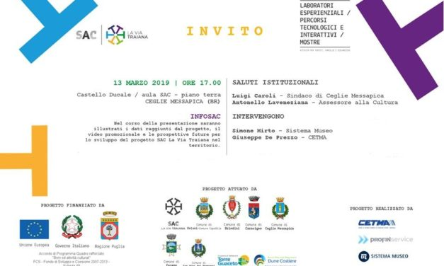 INFOSAC – INCONTRO DI ANIMAZIONE TERRITORIALE DEL SAC LA VIA TRAIANA MERCOLEDI' 13 MARZO A CEGLIE.